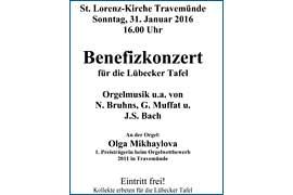 Plakat Benefizkonzert für die Lübecker Tafel in der St. Lorenz-Kirche in Lübeck-Travemünde