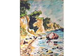 Günter Machemehl_Steilufer III, Aquarell 70 x 56 cm, 1946