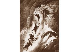 Holzstich von Gustave Doré zur Besteigung des Matterhorns