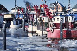 Winter in Niendorfer Hafen an der Ostsee