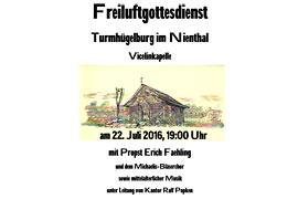 Plakat Freiluftgottesdienst Turmhügelburg Lütjenburg
