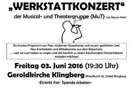 Plakat Werkstattkonzert in der Geroldkirche Klingberg
