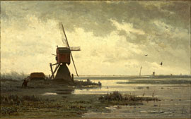 Paul Gabriël - Polderlandschaft mit Mühle © Groninger Museum, Sammlung Veendorp