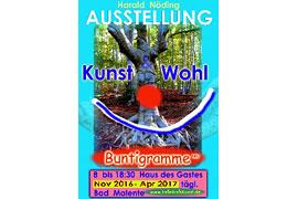 "Plakat Harald Nöding - Ausstellung ""Kunst & Wohl - Buntigramme"" in Malente"