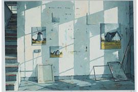 Sven Kroner, Atelierwand, 2015, Acryl auf Nessel, 160x230cm © Anne de Villepoix, Paris